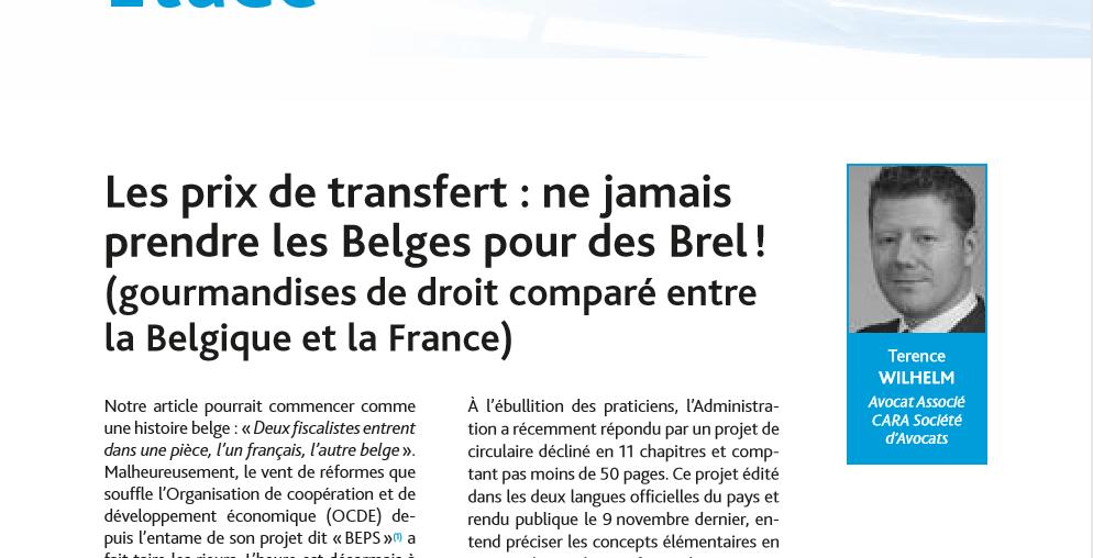Les prix de transfert : ne jamais prendre les Belges pour des Brel ! (gourmandises de droit comparé entre la Belgique et la France)